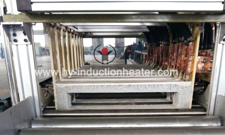 Steel slab induction heating furnace